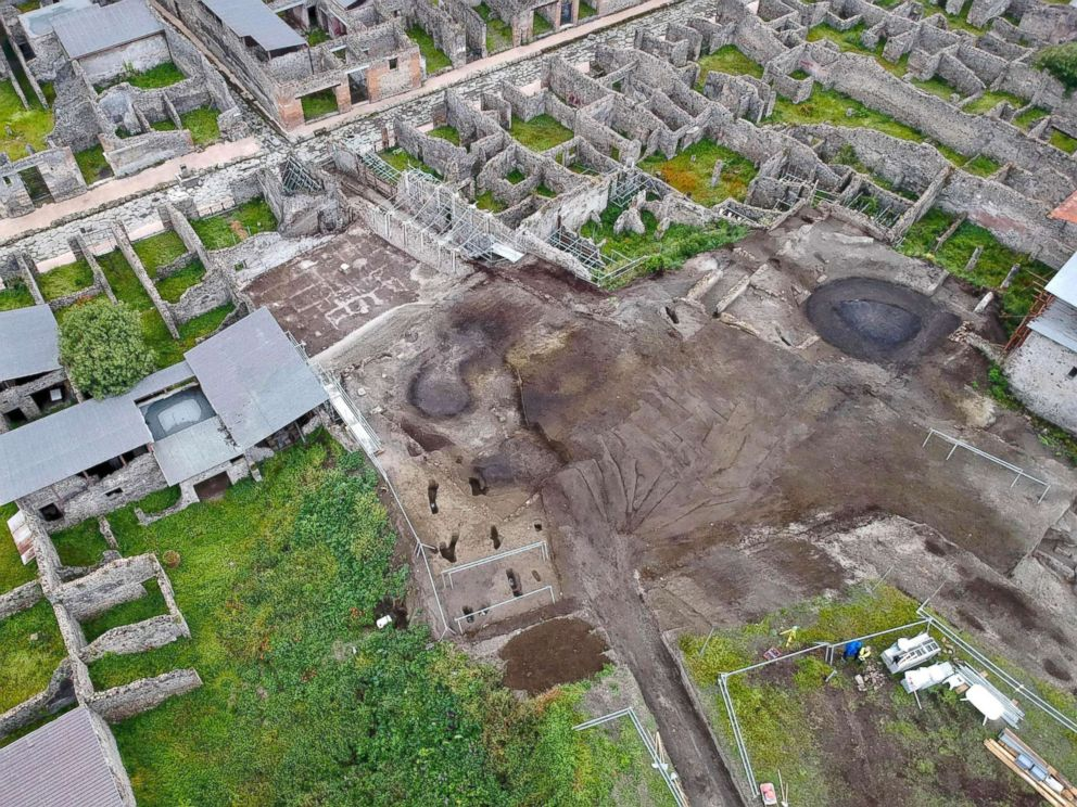 PHOTO: A handout photo made available by The Special Superintendency for the Archaeological Heritage of Naples and Pompeii (SANP) shows aerial view of the excavation works at the archaeological site of Pompeii, in Pompeii, Italy, May 17, 2018.