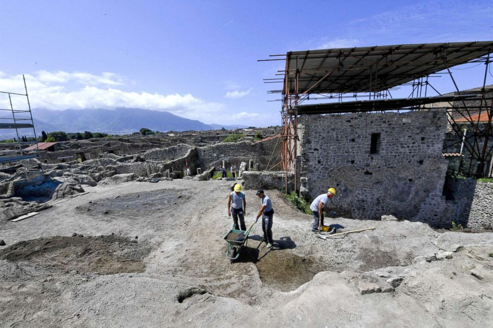 Excavation works at the archaeological site of Pompeii, where the 'Vicolo dei Balconi' (Alley of Balconies) was recently uncovered in Pompeii, Italy, May 17, 2018.