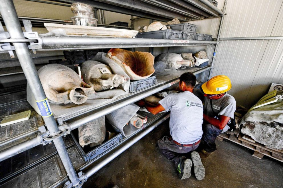 PHOTO: Amphoras recovered during excavation works at the archaeological site of Pompeii, where the Vicolo dei Balconi (Alley of Balconies) was recently uncovered in Pompeii, Italy, May 17, 2018.