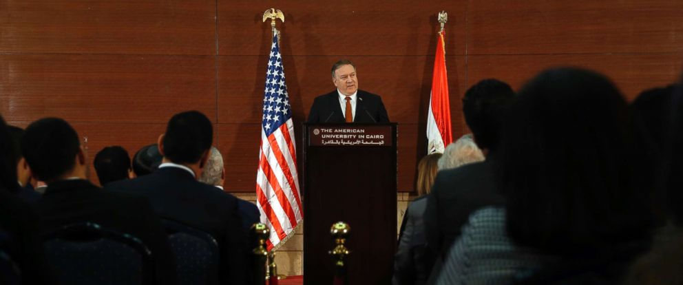 PHOTO: Secretary of State Mike Pompeo, gives a speech at the American University in Cairo, Jan. 10, 2019.