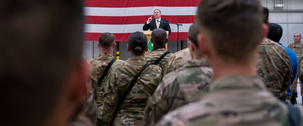 PHOTO: Secretary of State Mike Pompeo speaks to coalition forces at Bagram Air Base, Afghanistan, July 9, 2018.