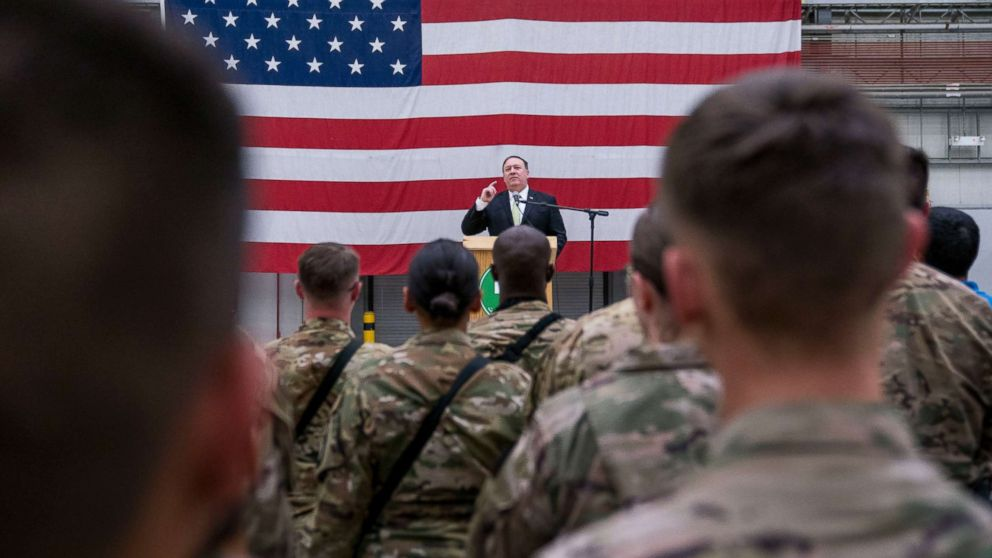 Secretary of State Mike Pompeo speaks to coalition forces at Bagram Air Base, Afghanistan, July 9, 2018.