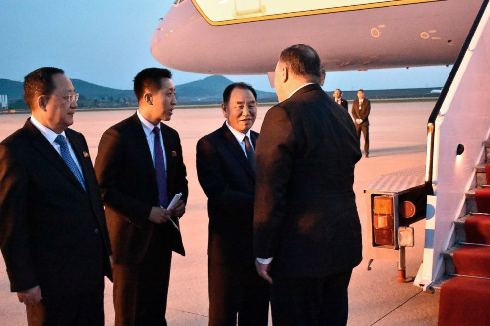 PHOTO: Secretary of State Mike Pompeo, bids farewell to senior North Korean official Kim Yong Chul, director of the United Front Department and Foreign Minister Ri Su Yong, left, on his departure from Pyongyang, North Korea, May 9, 2018.