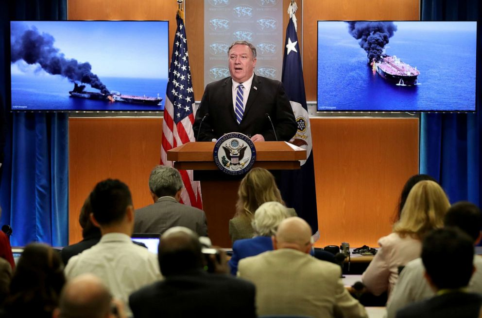 PHOTO:Secretary of State Mike Pompeo speaks from the State Department briefing room, June 13, 2019, in Washington, D.C.