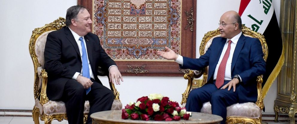 PHOTO: Iraqs President Barham Salih meets with U.S. Secretary of State Mike Pompeo in Baghdad, Iraq May 7, 2019.