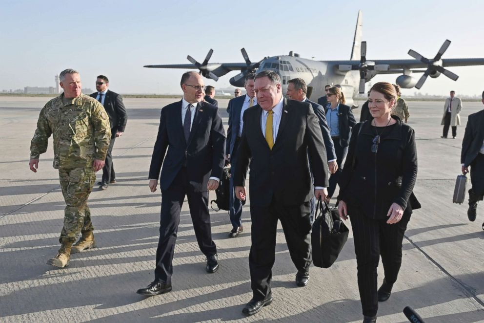 PHOTO: Secretary of State Mike Pompeo, second right, and his wife Susan, right, is welcomed by U.S. ambassador to Iraq Douglas Silliman, second left, as they arrive in Baghdad, Iraq, during a Middle East tour, Jan. 9, 2019.