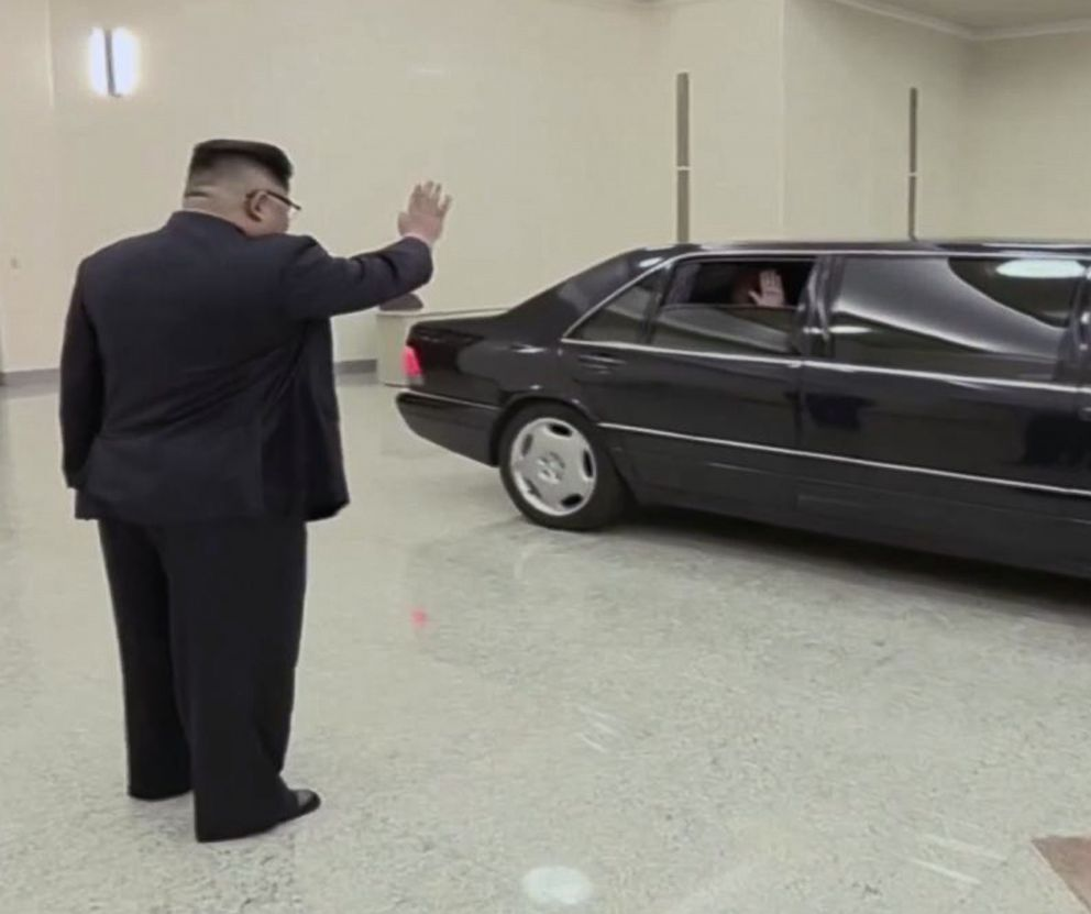 PHOTO: A scene shown on North Korean state TV of North Korean President Kim Jong Un waving goodbye to U.S. Secretary of State Mike Pompeo, May 9, 2018.