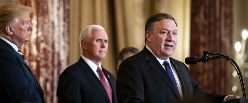 PHOTO: U.S. secretary of state Mike Pompeo, right, speaks after being sworn in, as Vice President Mike Pence listens, during a ceremony at the State Department in Washington, May 2, 2018.