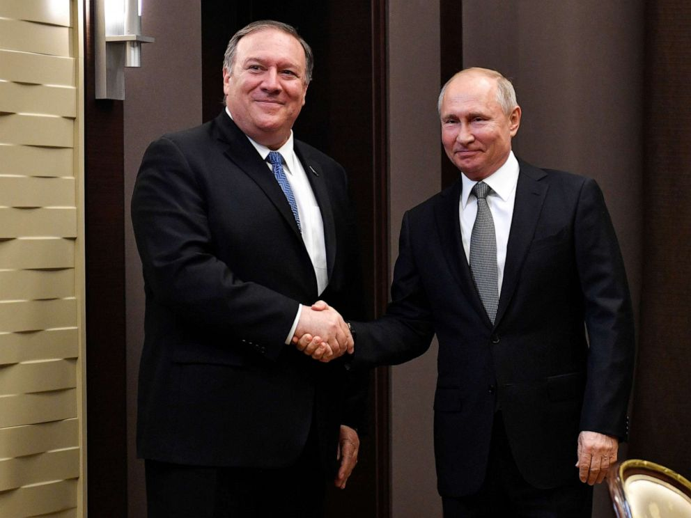 PHOTO: Russian President Vladimir Putin meets with Secretary of State at the Bocharov Ruchei residence in Sochi, Russia, May 14, 2019.