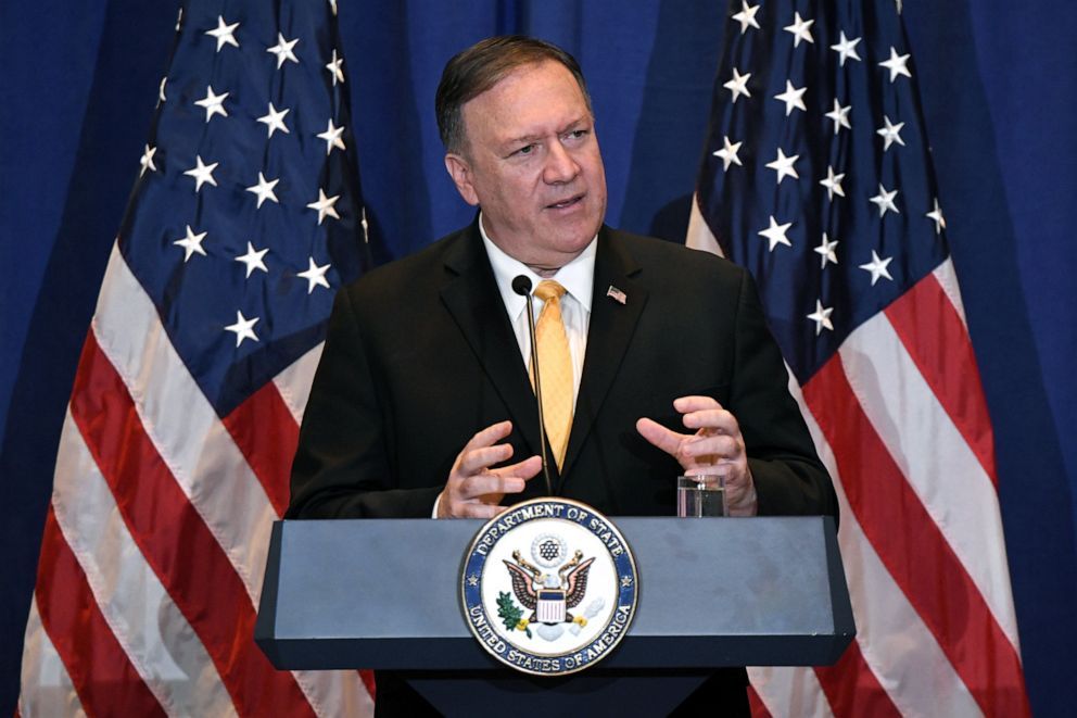 PHOTO: Secretary of State Mike Pompeo speaks during a press conference at the Palace Hotel on the sidelines of the 74th session of the United Nations General Assembly in New York, Sept. 26, 2019.