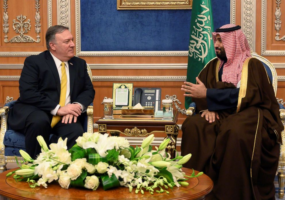 PHOTO: Secretary of State Mike Pompeo meets with Saudi Crown Prince Mohammed bin Salman, right, in Riyadh, Saudi Arabia, Jan. 14, 2019.