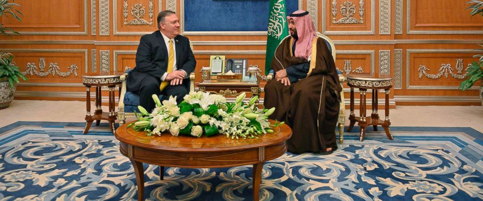 PHOTO: Secretary of State Mike Pompeo meets with Saudi Crown Price Mohammed bin Salman, right, at the Royal Court in Riyadh, Saudi Arabia, Jan. 14, 2019.