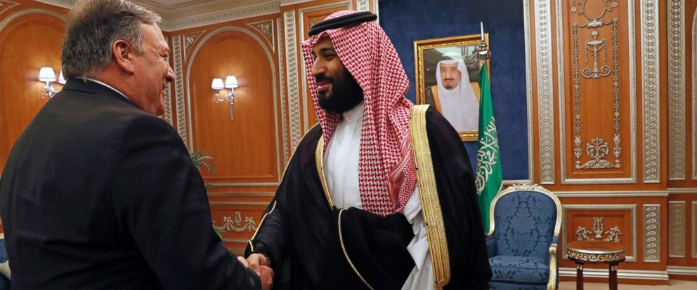 PHOTO: Secretary of State Mike Pompeo shakes hands with the Saudi Crown Prince Mohammed bin Salman in Riyadh, Saudi Arabia, Oct. 16, 2018.