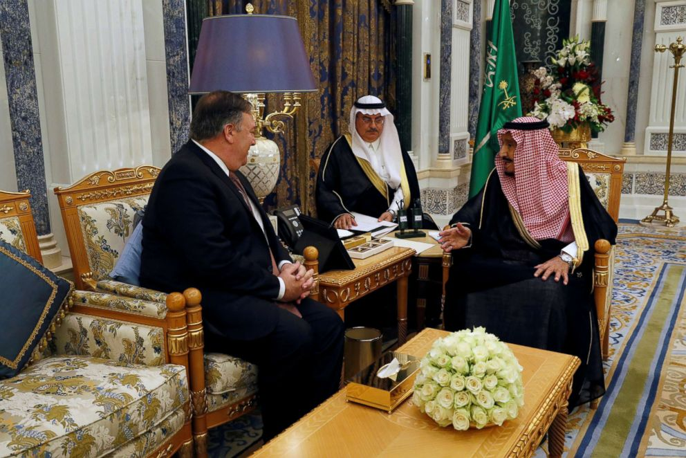 PHOTO: Saudi Arabias King Salman bin Abdulaziz Al Saud meets with Secretary of State Mike Pompeo in Riyadh, Saudi Arabia, Oct. 16, 2018.