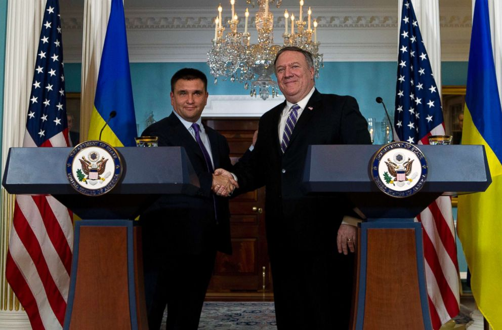 PHOTO: Secretary of State Mike Pompeo shake hands with Ukrainian Foreign Minister Pavlo Klimkin after speaking to the media at the Department of State, Nov. 16, 2018, in Washington D.C.