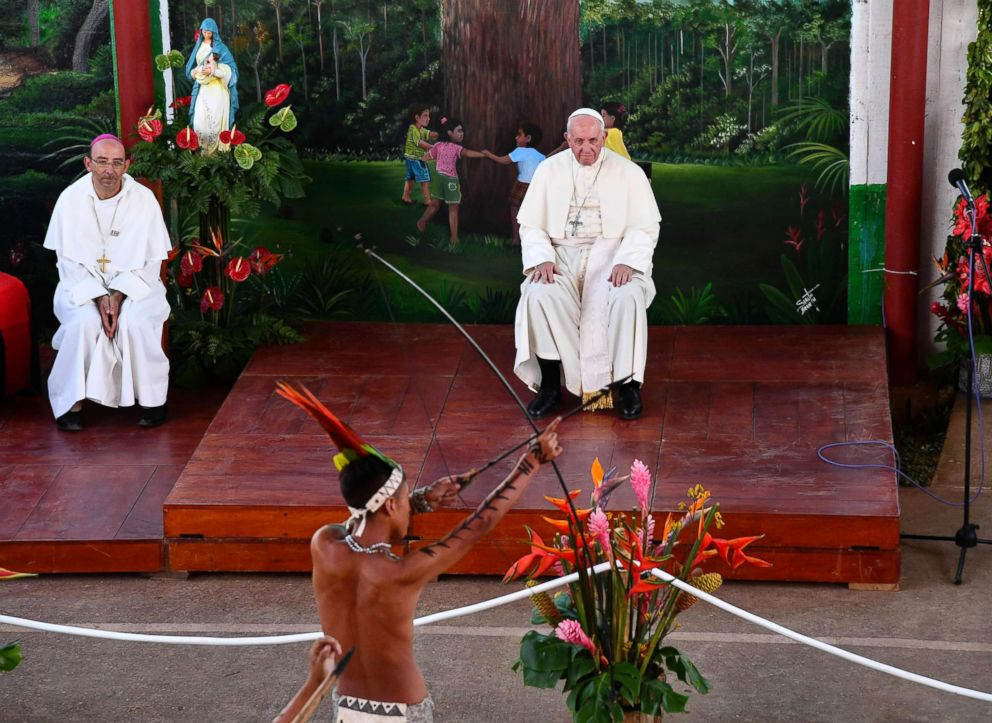 PHOTO: Pope Francis watches the performance of an indigenous boy during his visit at Hogar Principito Childrens home, in the Peruvian city of Puerto Maldonado, Jan. 19, 2018.
