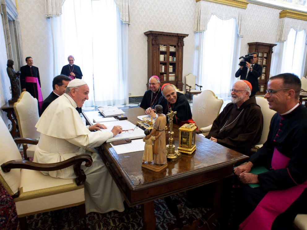U.S. Catholic Church leaders and Monsignor Brian Bransfield General Secretary of the United States Conference of Catholic Bishops during a private audience at the Vatican Sept.13 2018