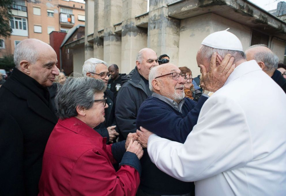 PHOTO: Pope Francis made a surprise visi to a residence for the elderly as part of his charity activities for his Holy Year of Mercy, in Rome on Jan. 15, 2016.