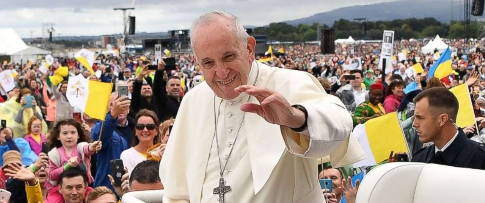 PHOTO: Pope Francis waves to the faithful as he arrives to lead the Holy Mass at Phoenix Park in Dublin on Aug. 26, 2018, during his visit to Ireland to attend the 2018 World Meeting of Families.