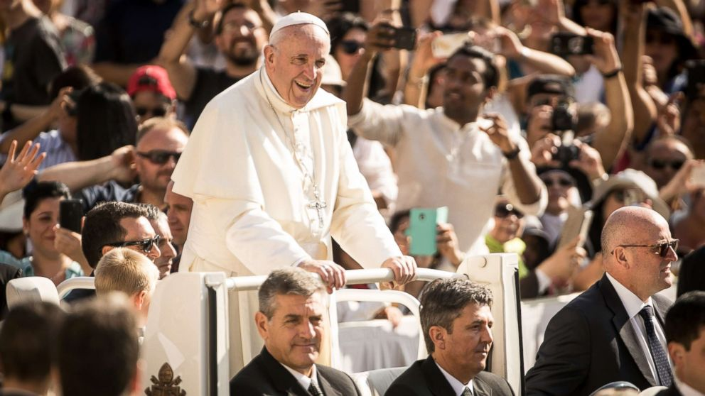 """Pope Francis arrives at his General Weekly Audience in St. Peter's Square on Aug. 29, 2018, in Vatican City, Vatican. During his speech the Pontiff said: """"Sadly, the joy of my visit (to Ireland) was clouded by the recognition of the suffering caused by the abuse of minors and young people by some members of the Church. I begged forgiveness for these crimes and encouraged the efforts made to ensure that they are not repeated."""""""