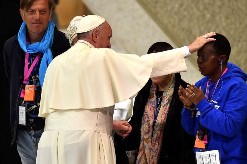 PHOTO: Pope Francis blesses homeless people during an audience for the homeless and socially excluded, in the Paul VI hall on Nov. 11, 2016 at the Vatican.