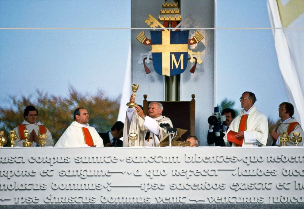 PHOTO: In this file photo, Pope John Paul II celebrates Mass and offers up the gold chalice at an outdoor ceremony, Sept. 29, 1979, in Knock, Ireland.