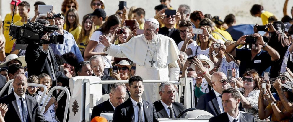 PHOTO: Pope Francis arrives for his weekly general audience in St. Peters Square at the Vatican, Sept. 5, 2018.