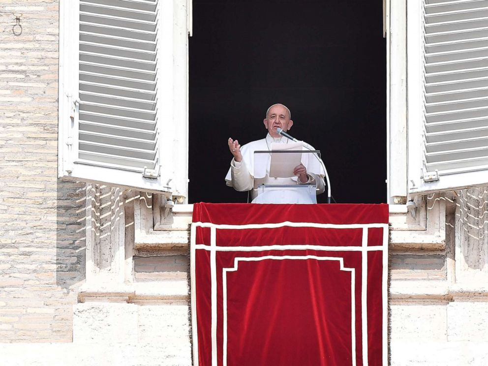 PHOTO: Pope Francis speaks from the window of the apostolic palace overlooking St. Peters square during the weekly Angelus prayer on Sept. 1, 2019 at the Vatican. He had been stuck in an elevator for about 25 minutes.