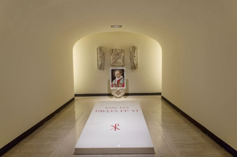 PHOTO: The tomb of Pope Paul VI inside St Peters Basilica at the Vatican is pictured on Oct. 12, 2018.
