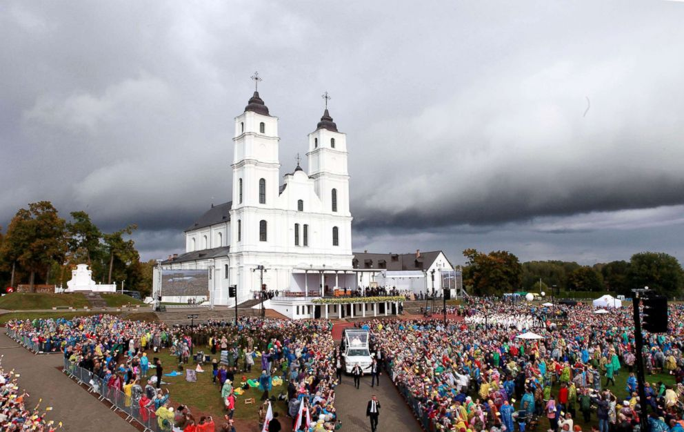 PHOTO: Pope Francis arrives to celebrate Holy Mass in Aglona, Latvia, Sept. 24, 2018.