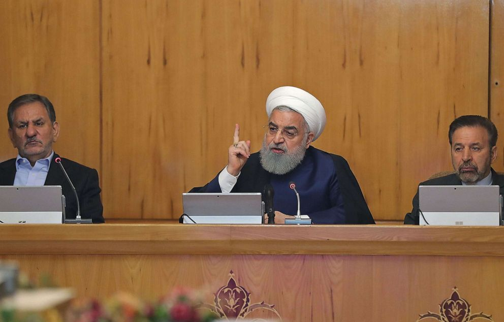 PHOTO: A handout picture provided by the Iranian presidency on May 8, 2019, shows President Hassan Rouhani delivering a speech in the capital Tehran.