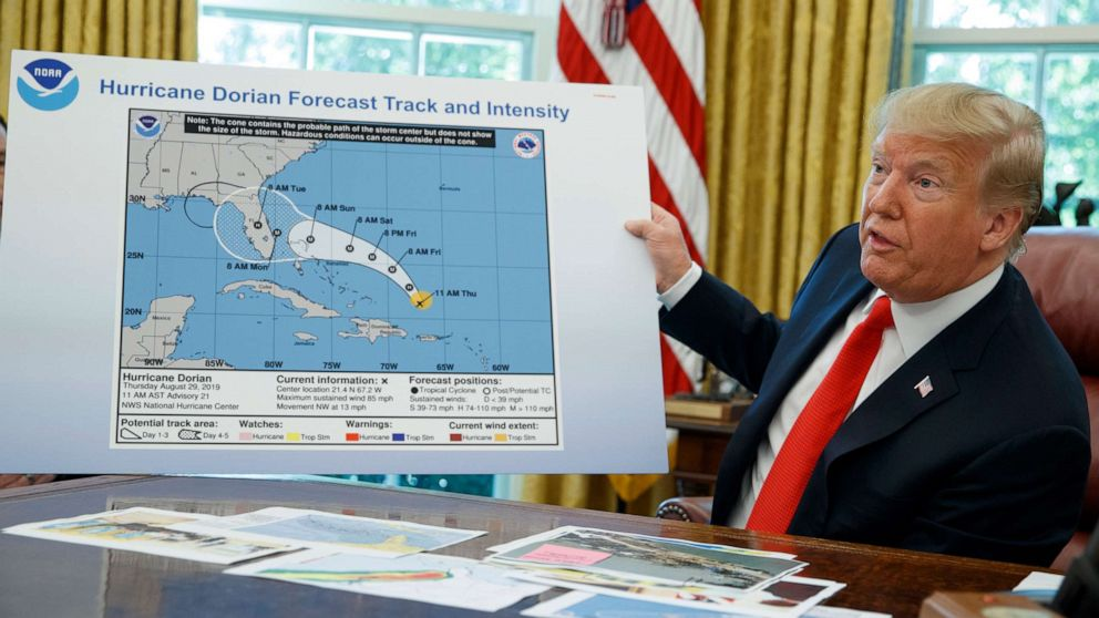 Trump displays altered weather map showing Dorian could have ... on map panel, map screen, map identification, map desktop, map measuring instrument, map of maryland state shape, map power options, map interpretation, map model, map measuring distance, map datum plane, map mt. kilimanjaro in tanzania, map tf card, map selection, map browser, map rendering, map share, map figure,