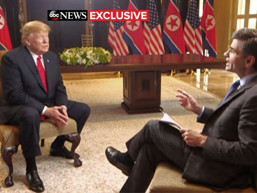 PHOTO: President Donald Trump sits with ABC News George Stephanopoulos after a historic summit with North Koreas Kim Jong Un at the Capella Hotel on Sentosa island in Singapore, June 12, 2018.  EXCLUSIVE: 'I do trust him': Trump opens up about Kim after historic summit president trump int 11 bugged abc jc 180612 hpMain 4x3 992