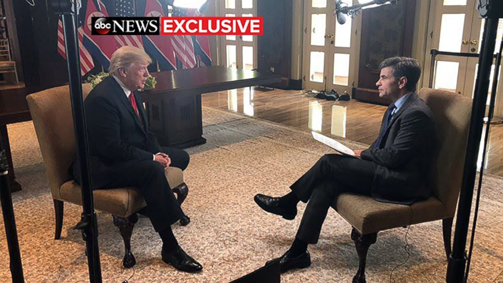 President Donald Trump talks to ABC News' George Stephanopoulos after a historic summit with North Korea's Kim Jong Un at the Capella Hotel on Sentosa island in Singapore, June 12, 2018.