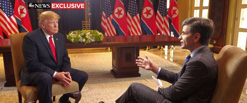 PHOTO: President Donald Trump sits with ABC News George Stephanopoulos after a historic summit with North Koreas Kim Jong Un at the Capella Hotel on Sentosa island in Singapore, June 12, 2018.