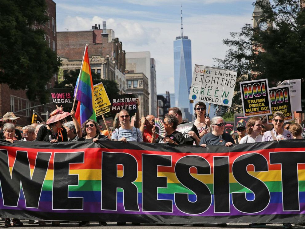 PHOTO: Marchers participate in the Queer Liberation March in New York, June 30, 2019.