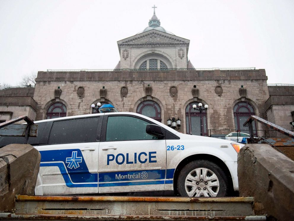 PHOTO: Police provide security at Saint Josephs Oratory in Montreal, March 22, 2019, after Catholic Priest Claude Grou was stabbed during a livestreamed morning mass.