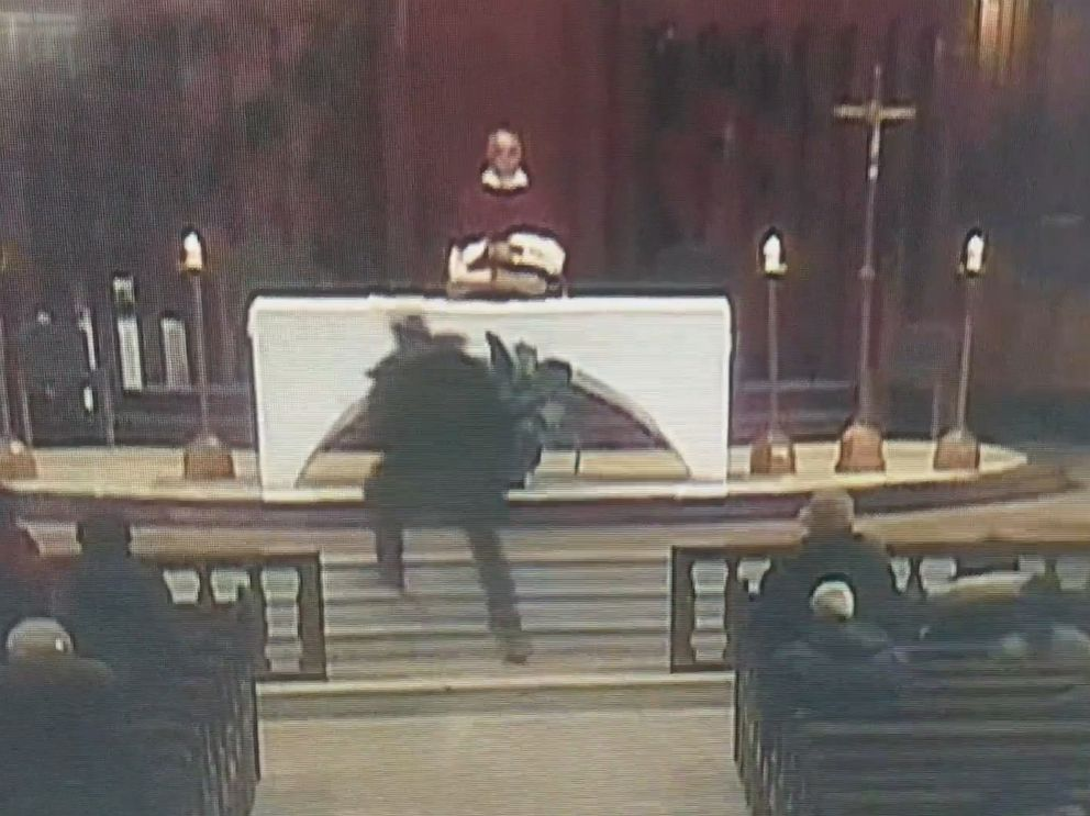 PHOTO: A Catholic priest was stabbed while celebrating Mass in Montreal, March 22, 2019, as stunned parishioners looked on, according to officials and video footage. The attack was broadcast on a live video stream.