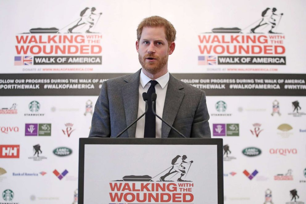PHOTO: Britains Prince Harry speaks during the launch of Walk Of America at a hotel in London on April 11, 2018.