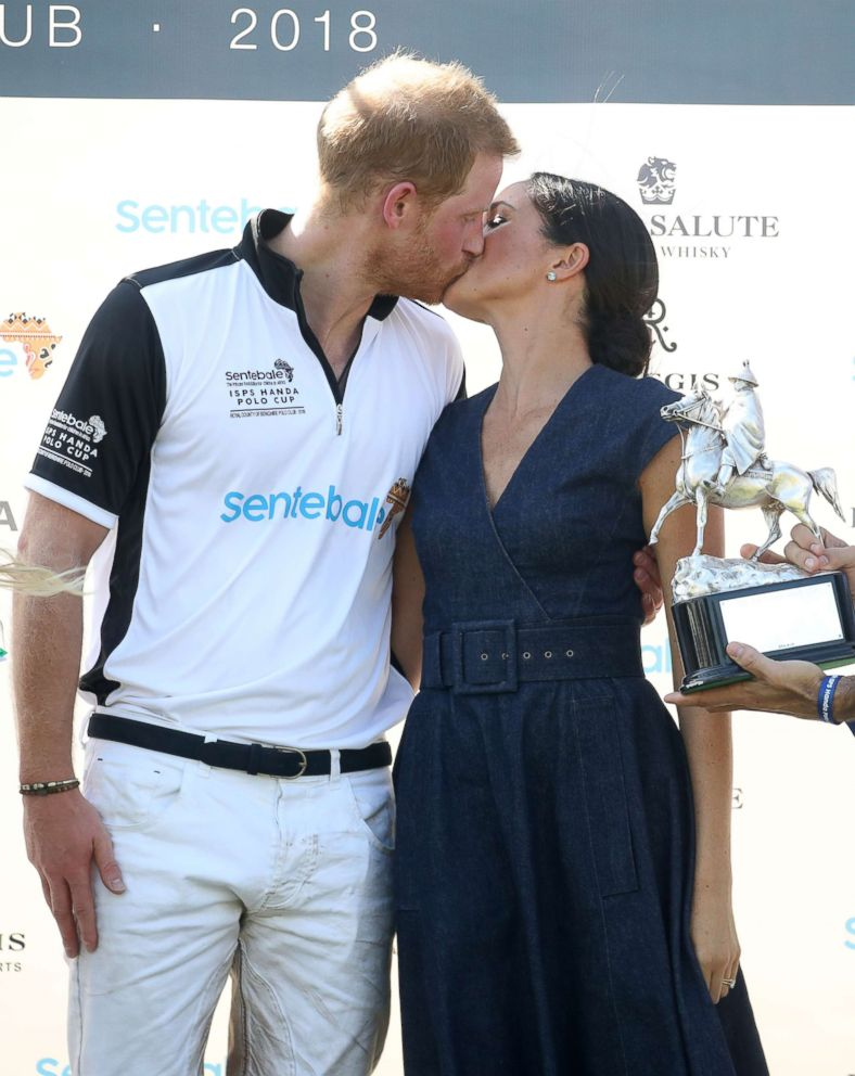 PHOTO: Meghan, Duchess of Sussex, and Prince Harry, Duke of Sussex, kiss after the Sentebale Polo 2018 held at the Royal County of Berkshire Polo Club, July 26, 2018, in Windsor, England.
