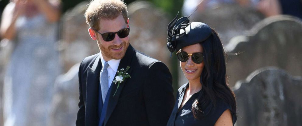 PHOTO: The Duke and Duchess of Sussex walk outside St. Mary the Virgin Church in Frensham, Surrey, on Aug. 4, 2018, after attending the wedding of Charlie van Straubenzee and Daisy Jenks.