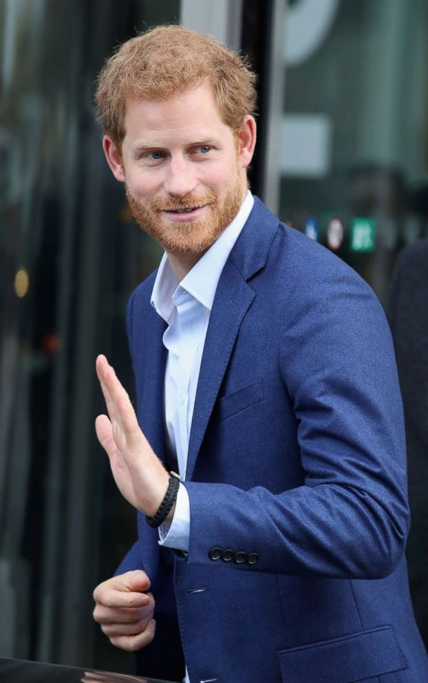 PHOTO: Prince Harry departs from Orestad school following a conference, Oct. 26, 2017, in Copenhagen, Denmark.