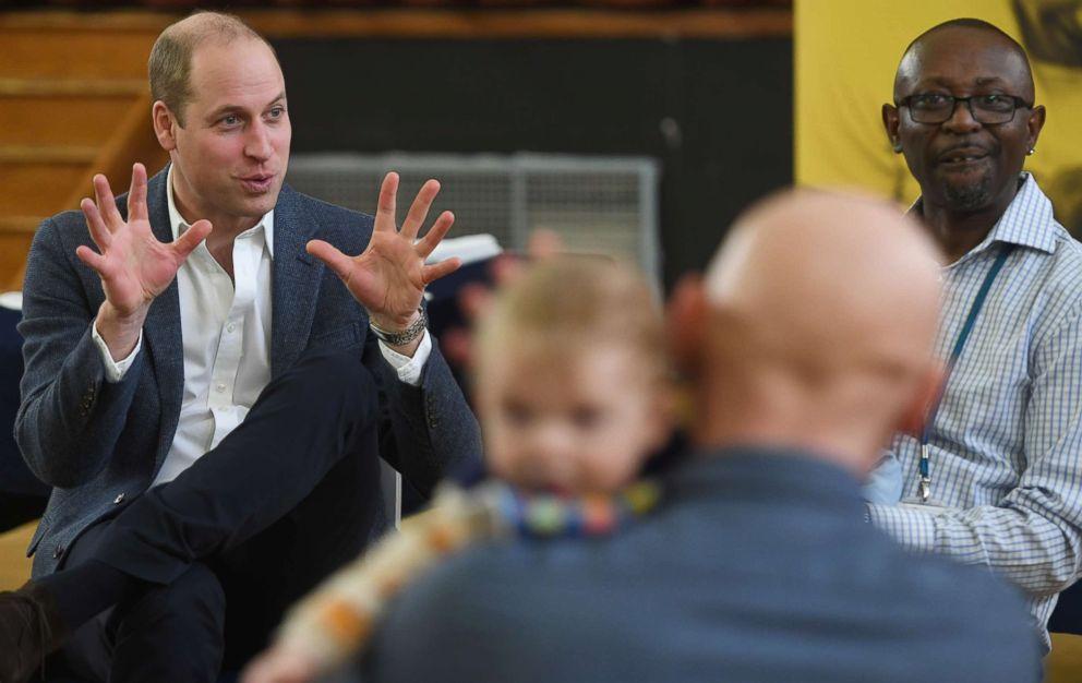 Prince William, Duke of Cambridge visits the 'Future Men' Fathers Development Programme, Feb. 14, 2019, in London.