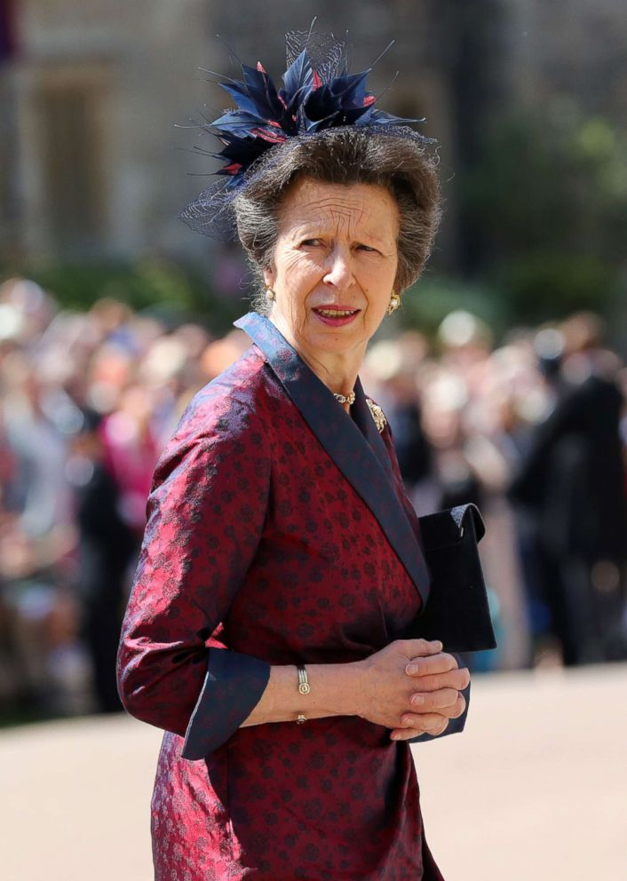 PHOTO: Princess Anne arrives at St Georges Chapel at Windsor Castle before the wedding of Prince Harry to Meghan Markle, May 19, 2018, in Windsor, England.
