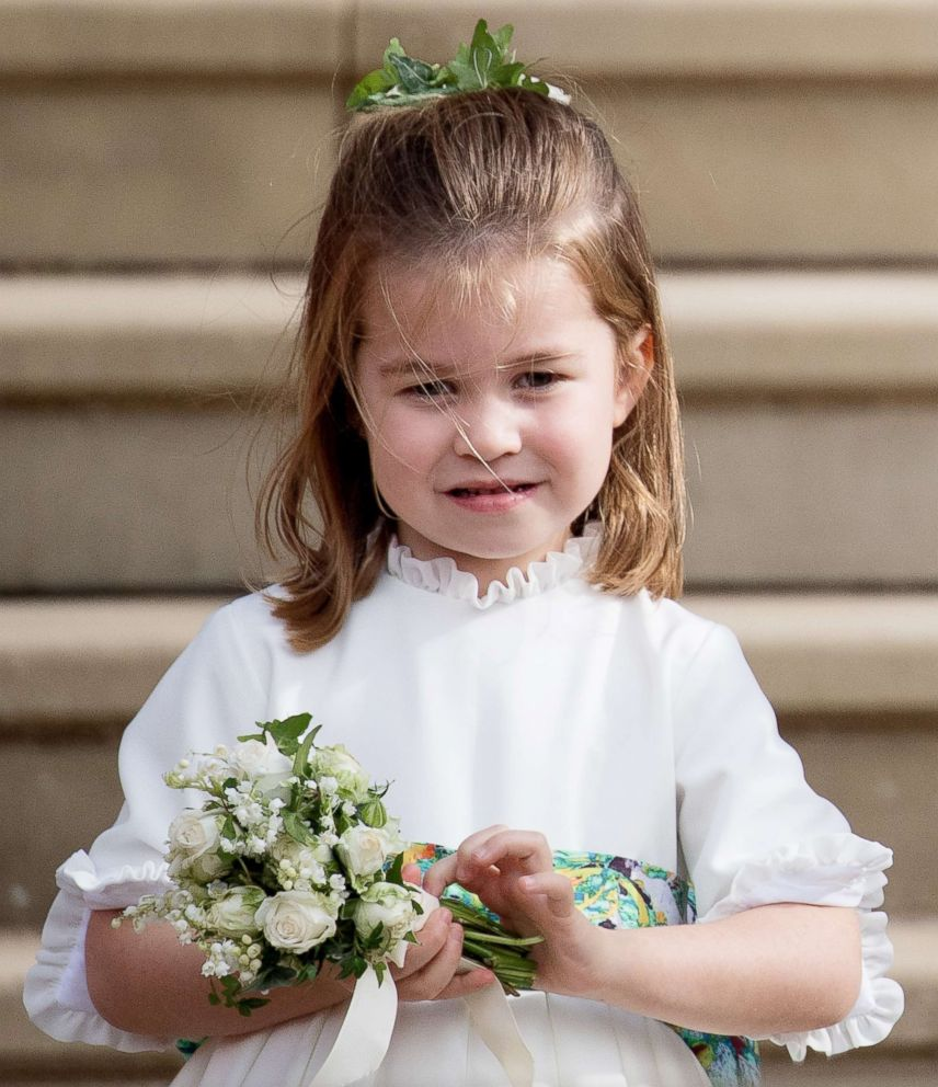 PHOTO: Princess Charlotte of Cambridge attends the wedding of Princess Eugenie of York and Jack Brooksbank at St Georges Chapel in Windsor Castle, Oct. 12, 2018, in Windsor, England.