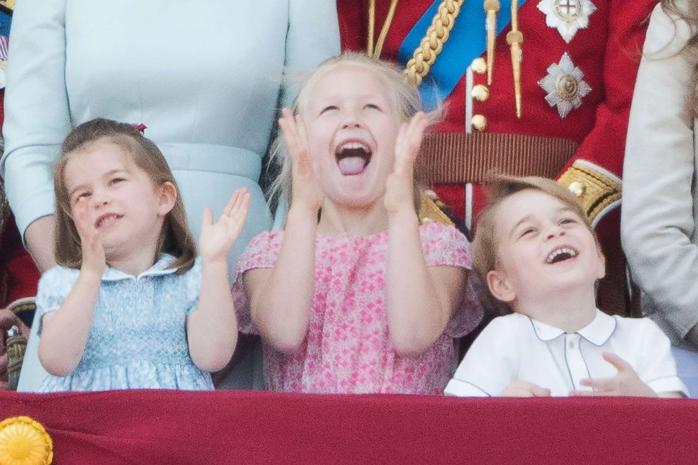 PHOTO: Princess Charlotte, Savannah Phillips and Prince George on the balcony of Buckingham Palace after Trooping the Color in London, June 9, 2018.