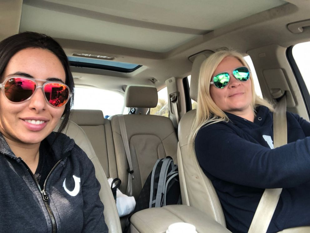PHOTO: Latifa and Tiina took pictures in the car on their drive through Oman from Dubai on 24th February 2018.