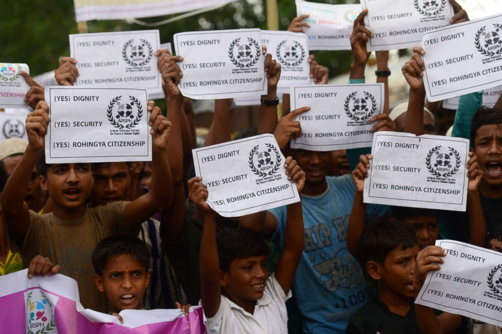 PHOTO: Rohingya community demonstrate before the visit of UN Secretary-General Antonio Guterres at the Kutupalong refugee camp for the Rohingya community in Bangladeshs southeastern border district of Coxs Bazar, July 2, 2018.