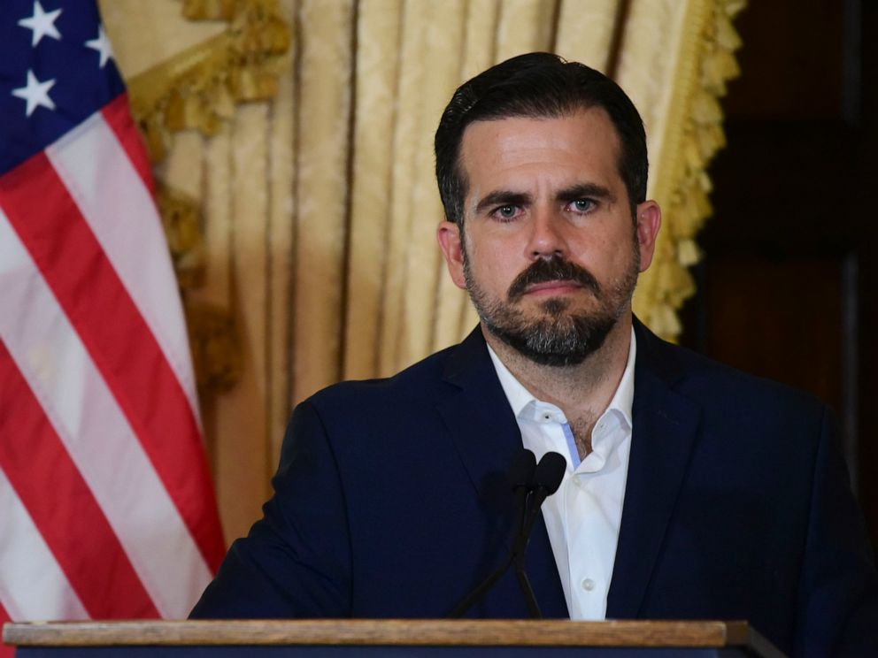 PHOTO: Puerto Rico governor Ricardo Rossello holds a press conference, almost two days after federal authorities arrested the islands former secretary of education and five other people on charges.