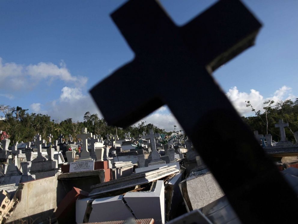 PHOTO: Graves destroyed during Hurricane Maria at a cemetery, in Lares, Puerto Rico Feb. 8, 2018, months after the the island was hit.